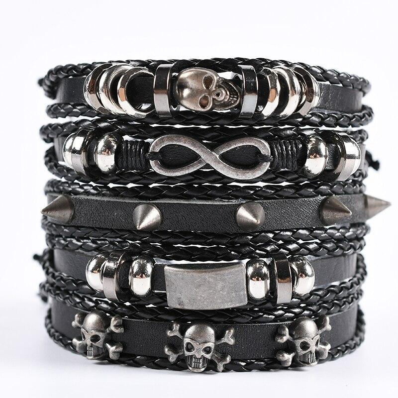5pcs/set black wrapped woven handmade men's accessory bracelets men and women leather bracelets men's bracelets wholesale