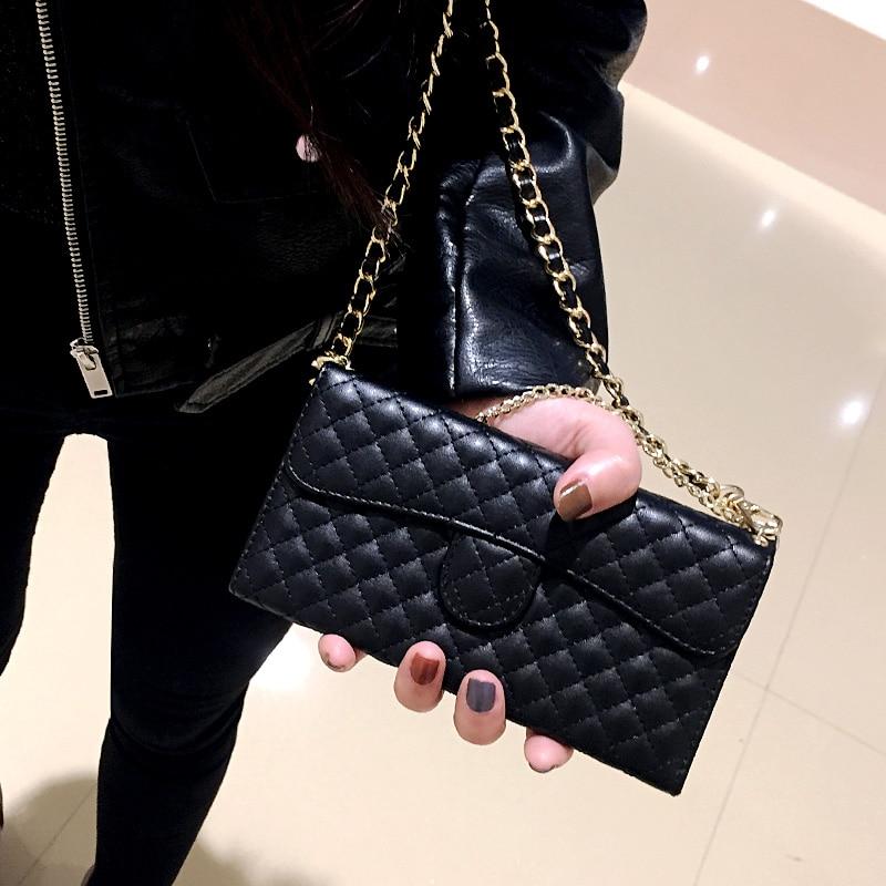 AliExpress - Lambskin Leather Flip Wallet Chain Handbag Case Cover For iPhone 12 Mini 11 Pro XS MAX X XR 6 6S 7 8 Plus SE Shoulder Bag Case