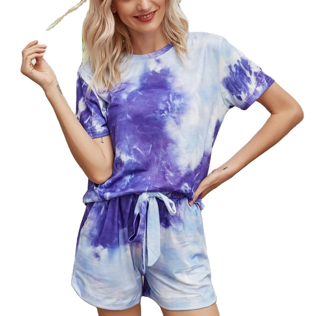 Short home wear 2021 spring and summer Europe and printed tie dye pajamas gradient color home wear p