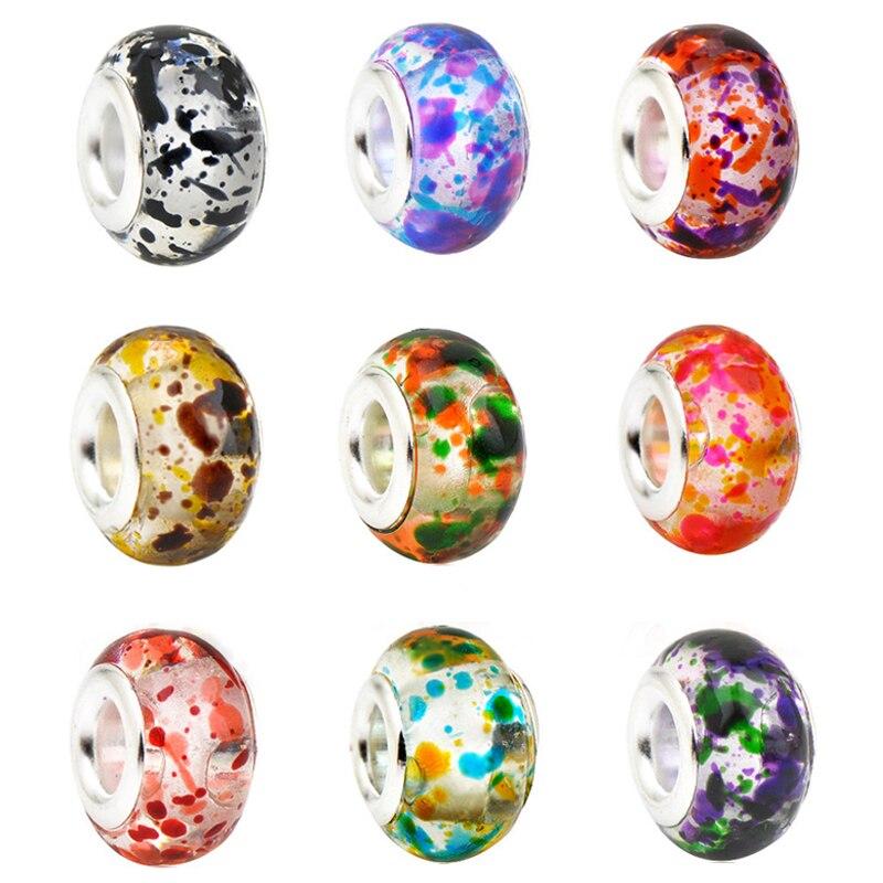 Colorful Murano dos Grânulos de Vidro para A Jóia Fazendo Fit Original Pan Encantos Pulseira Mulheres Moda Pulseiras Acessórios DIY Presente