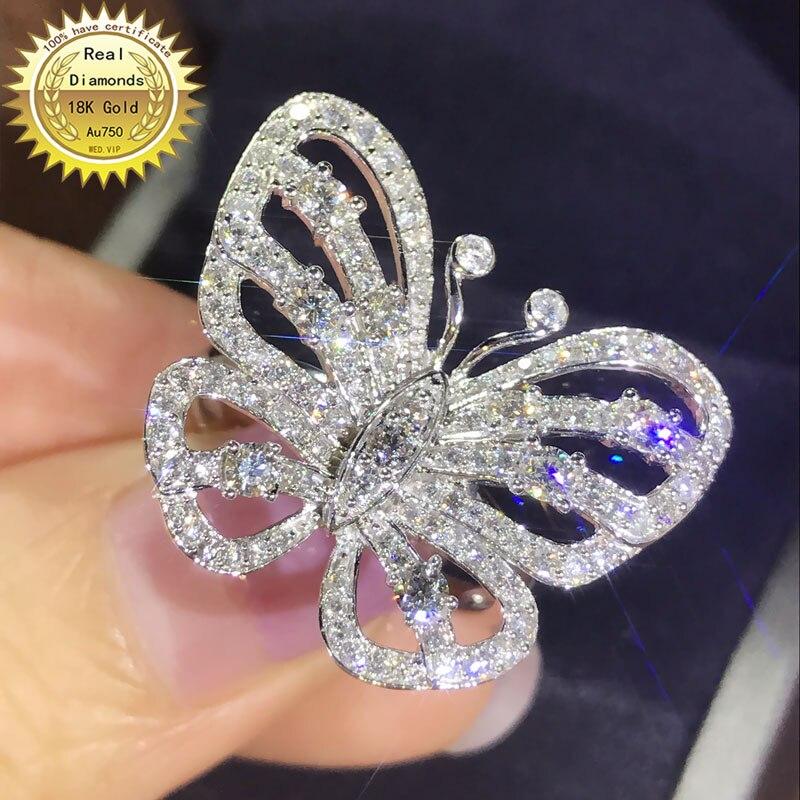 Anillo de oro de 18 k, anillo de diamante Natural Real de 1,5 CT, joyería de compromiso y boda con certificado 0030