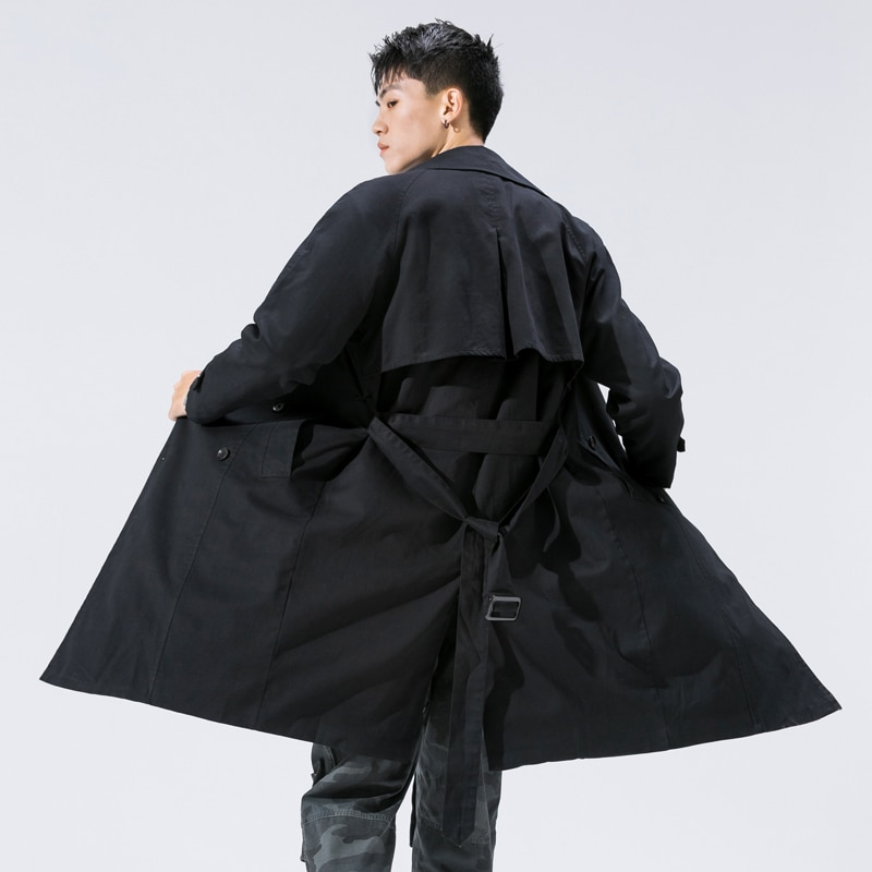 Primavera Outono Homens jaqueta Homens Casaco Trench Coat Longo Fino Com Capuz Oversize Moda Streetwear Do Punk Rave Windbreakers
