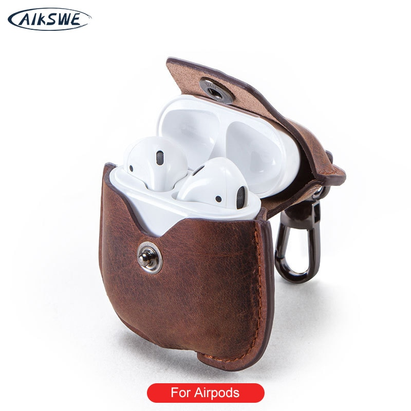 AIKSWE Genuine Leather Airpods Case For Bluetooth Earphone Charging Box Accessories Bag Key Strap with Buttons Headphone Cover