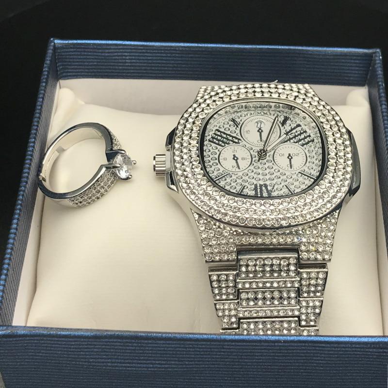 Luxury Men Hip Hop Ice out Cuban Watch &Ring Combo Set Adjustable Ring Rock Rapper Men Jewelry Street dance Gift Hip Hop For Men