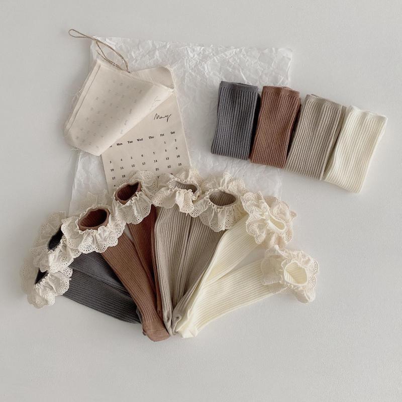 4 Pairs/lot New Baby Girls Socks Long Socks Kids Knee Length Soft Cotton Baby Socks Kids 1-6 Years Knee High Socks
