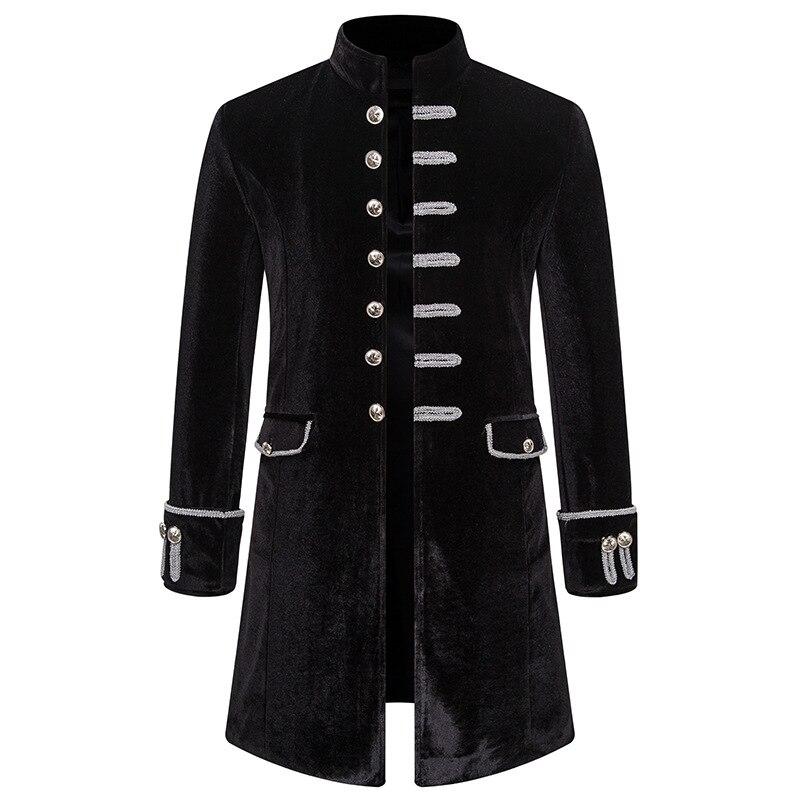 Homens de veludo preto trench coat medieval gótico steampunk jaqueta vintage pirata renascentista formal vitoriano cosplay traje