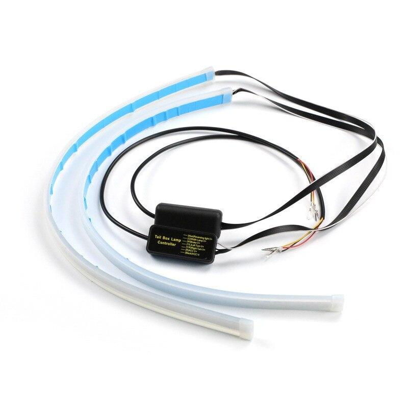 2x60cm Ultrafeinen Autos DRL LED Tagfahrlicht Weiß Blinker Gelb Guide Streifen für Scheinwerfer Montage drop Verschiffen