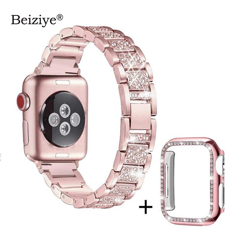 Correa de diamante + funda para Apple Watch 38mm 42mm Metal strass reemplazo pulsera mujer para iWatch 40mm 44mm serie 5 4