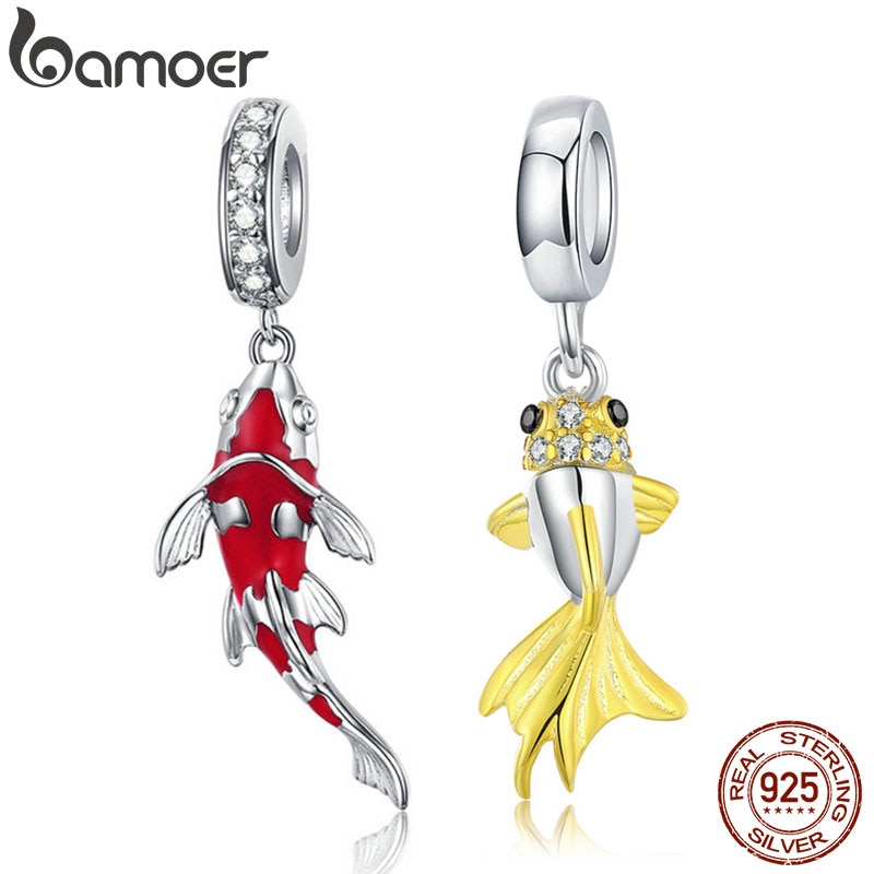 Colgante de pez esmaltado BAMOER, colgante de Plata de Ley 925, colgante, pulsera, collar para mujer, joyería fina BSC085