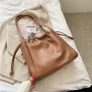 Simple Textured Women Single Shoulder Bags Fashion Drawstring Buttoned Tote Bag Female Travel Bags Large Capacity Shop Handbags