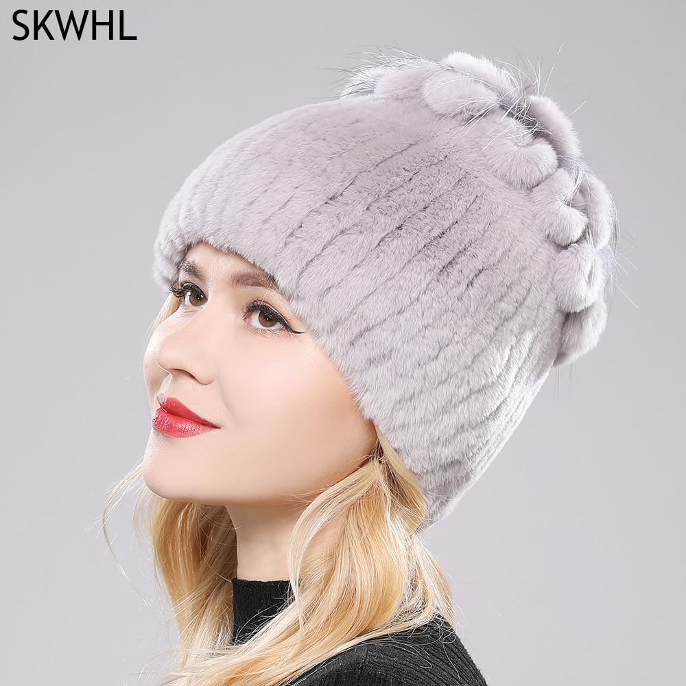 2021 Russia Hot Sale Winter Real Fur Beanies Hat Women 100% Genuine Real Rex Rabbit Hat Good Elastic