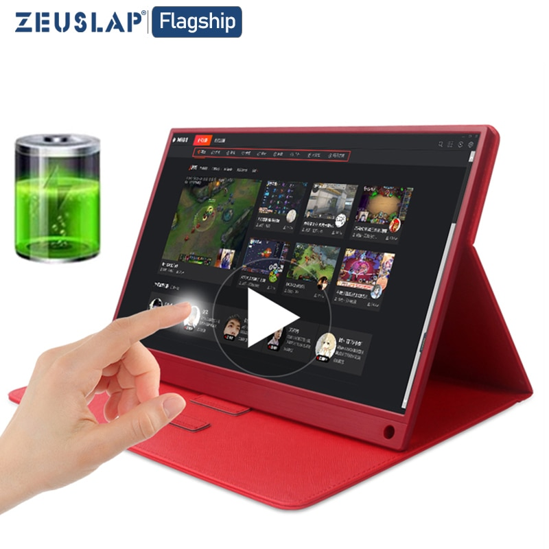 Monitor táctil portátil de 15,6 pulgadas Full HD 1080 IPS USB C Monitor portátil incorporado altavoces duales Compatible con portátil notebook