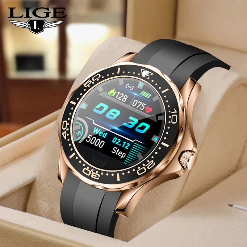 LIGE 2021 New Luxury Smart Watch Men Multifunctional Sports Heart Rate Waterproof Fitness Tracking S