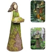 fairy garden statue with bird feeder lawn resin ornaments garden art sculptures for outdoor decoration 2021 new