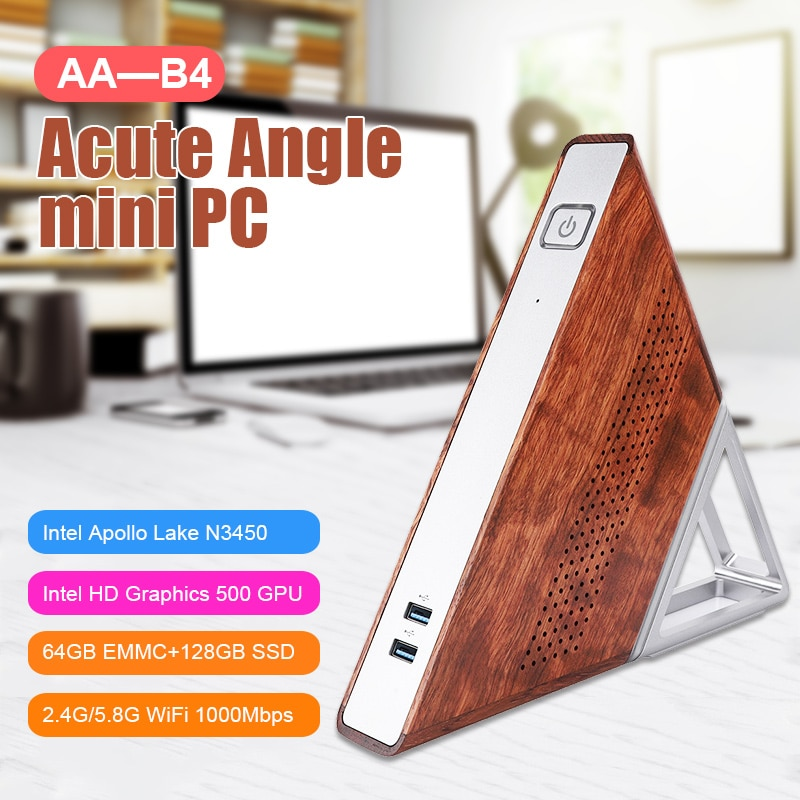 Akute Winkel AA-B4 Mini Computer Host DDR3 8GB RAM 1600MHZ 64GB EMMC + 128GB SSD Tragbare PC Unterstützung 2,4G & 5G WiFi 1000M RJ45 Port