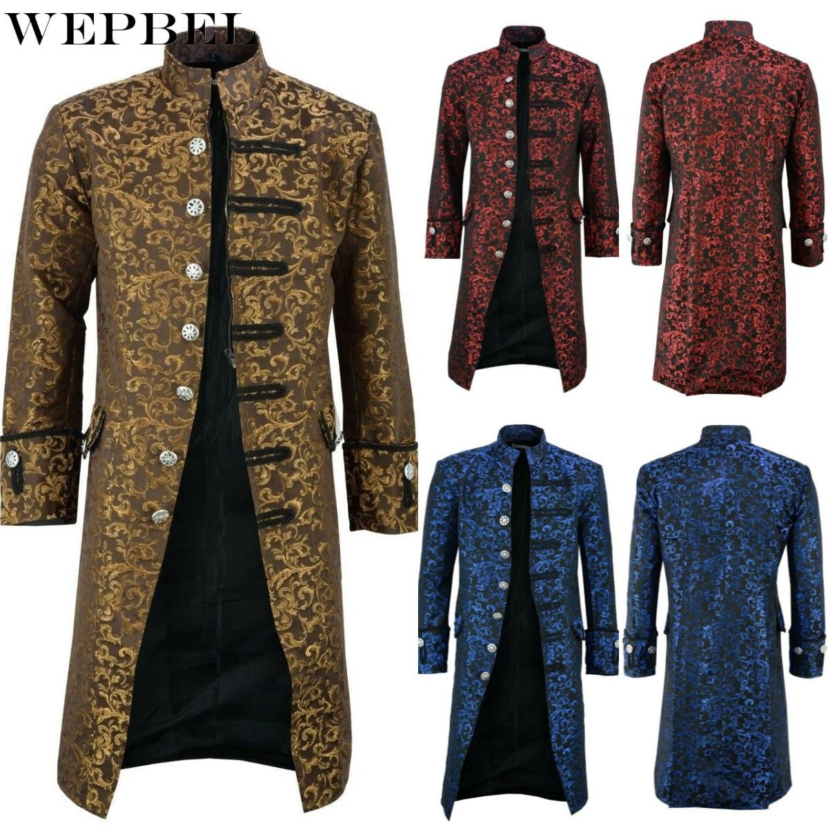 WEPBEL عالية الجودة الرجال القرون الوسطى عصر النهضة خمر طوق زرر سترات Steampunk الفيكتوري زي تأثيري معطف (S-5XL)