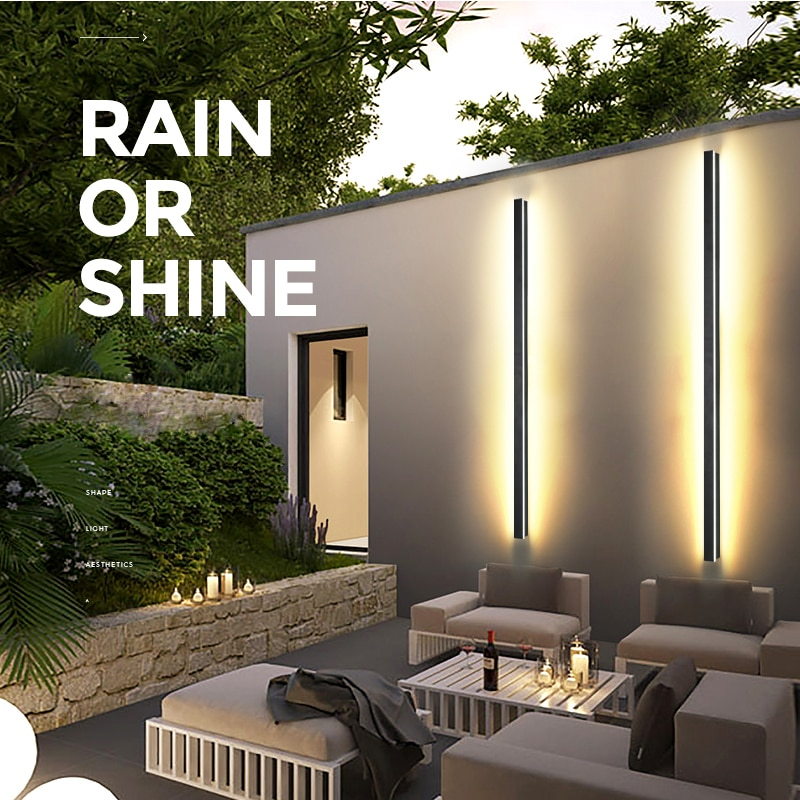 Modern Waterproof outdoor Long Strip LED wall lamp IP65 Aluminum Wall Light Garden porch Sconce Light 110V 220V Sconce Luminaire