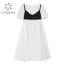 2021 Summer New Dress+Vest Two Piece Sets Women's Retro Sweet Square Collar White Dresses Streetwear