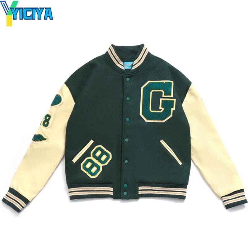 Модные бейсбольные куртки 2021, Куртка Varsity в стиле хип-хоп, мужские куртки с пушистыми буквами и вышивкой для колледжа, Женские куртки в стиле ...