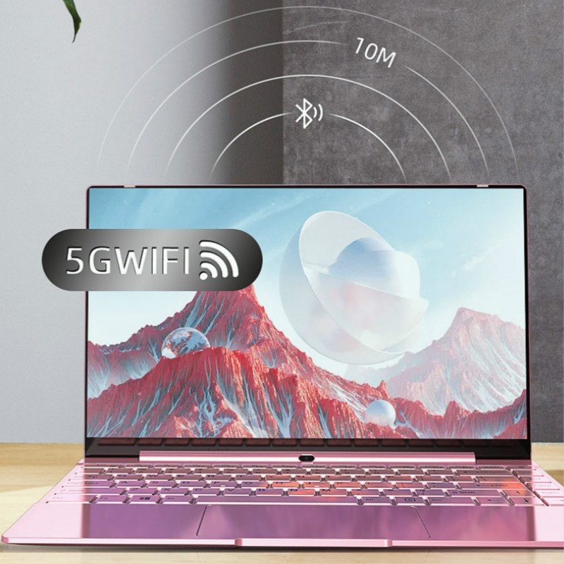 14 Inch Pink Laptop Cute Notebook Computer Girls Core I7 or Celeron 3867U Ultra-Thin Portable Business Gaming School Green