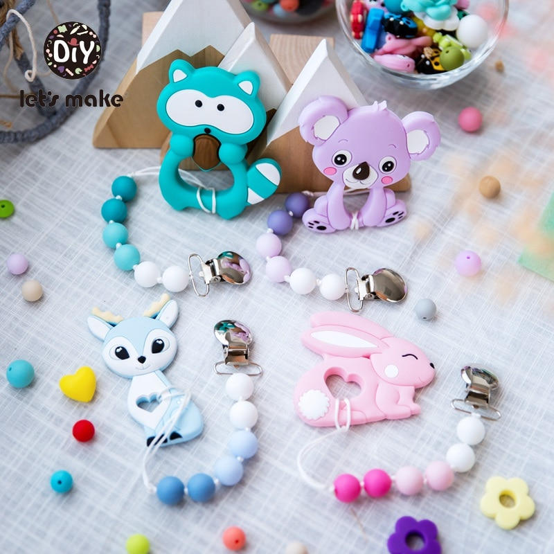Let's Make 1pc Baby Pacifier Chain Food Grade Silicone Animal Lion Dinosaur Raccoon Teething Toys Bpa Free Baby Silicone Teether недорого