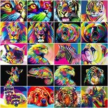 HUACAN photos par numéro animaux chat peinture à lhuile par numéros ensemble décor à la maison coloriage par numéros Lion dessin toile mur Art