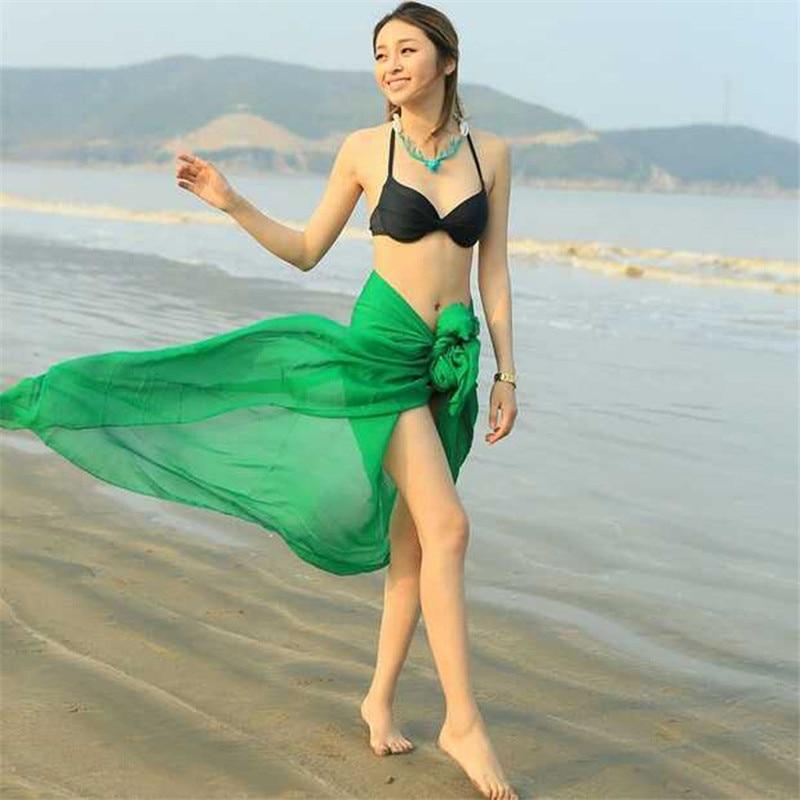 Pañuelo de chifón para playa de Color liso para mujer, chal de verano, pañuelos protectores solares, Bandana, Fular, Bikini para mujer, bufanda de seda Sarong