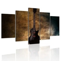 vintage guitar 5 panels hd canvas painting posters wall art print pictures living room bedroom interior home decoration frame