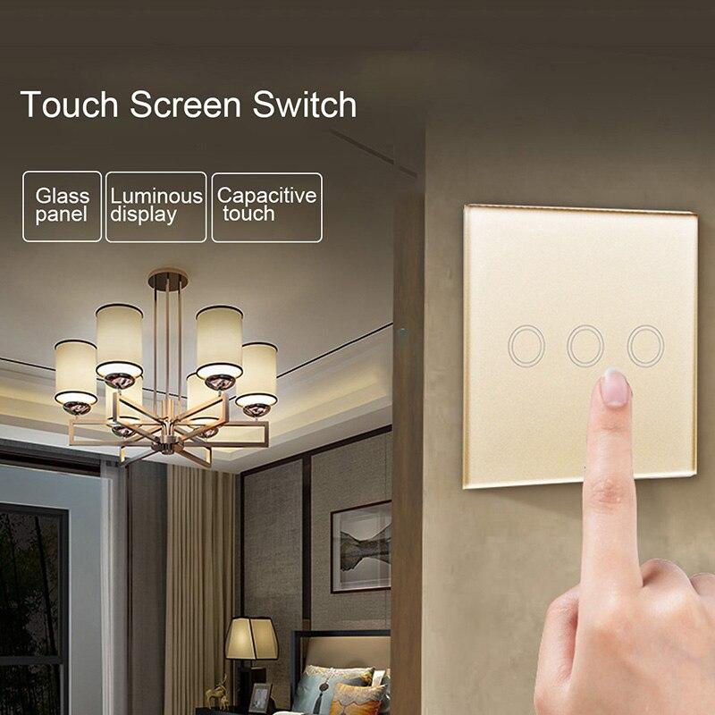 Interruptor de pantalla táctil estándar EU/US, 1/2/3 entradas, 1 vía, Blanco/Negro/pared dorada, Interruptor táctil para Panel de luz de interruptor de cristal