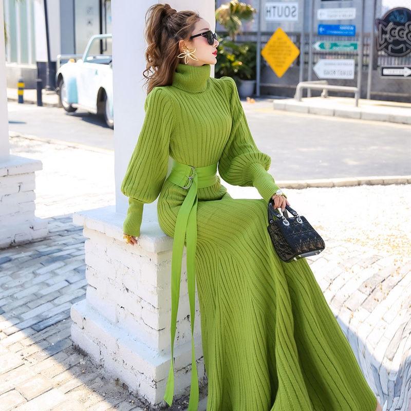 Fall Elegant Green Knitting Dresses Women Queen High Street Lantern Sleeve Turtleneck Sweater Dress Plus Size Clothing Winter