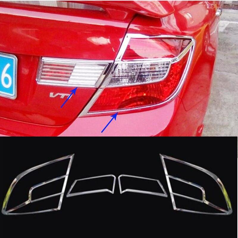 For Honda Civic 9th 2012 2013 2014 2015 2pcs ABS Chrome Front Rear Headlight Lamp Cover Trim