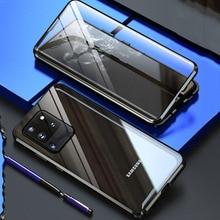 Para samsung galaxy s20 ultra caso dupla capa de vidro temperado 360 caso à prova de choque para samsung s 20 s20 + plus capa ímã clipe