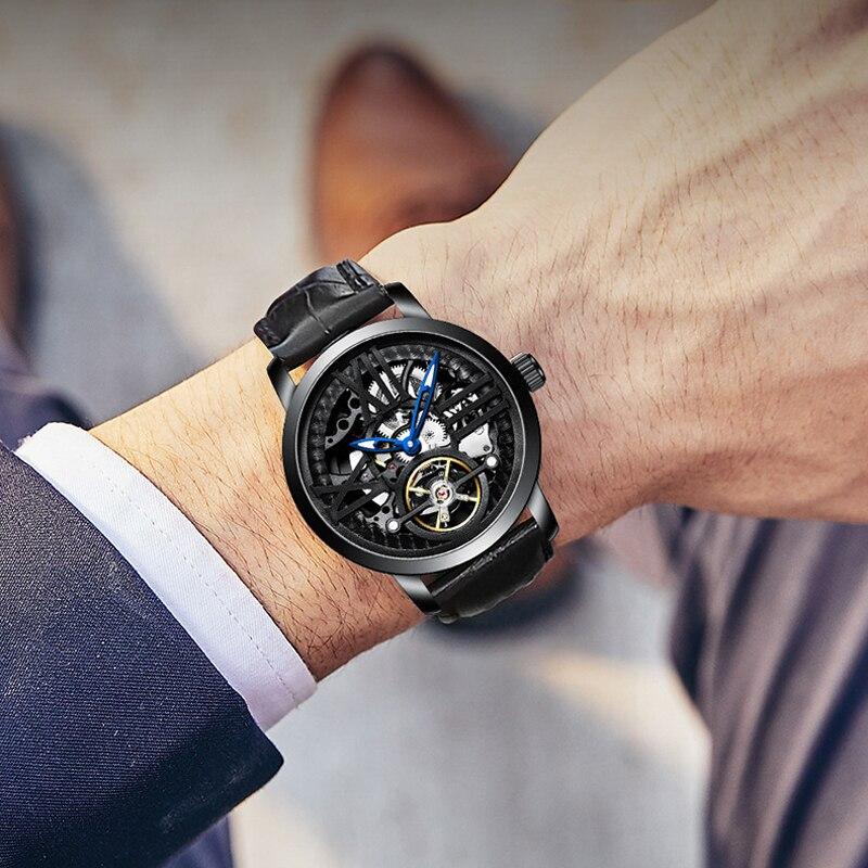 AILANG Luminous Fashion Leather Strap Business Tourbillon Automatic Skeleton Men's Wrist Watch Sport Relogio Masculino 6811LM enlarge