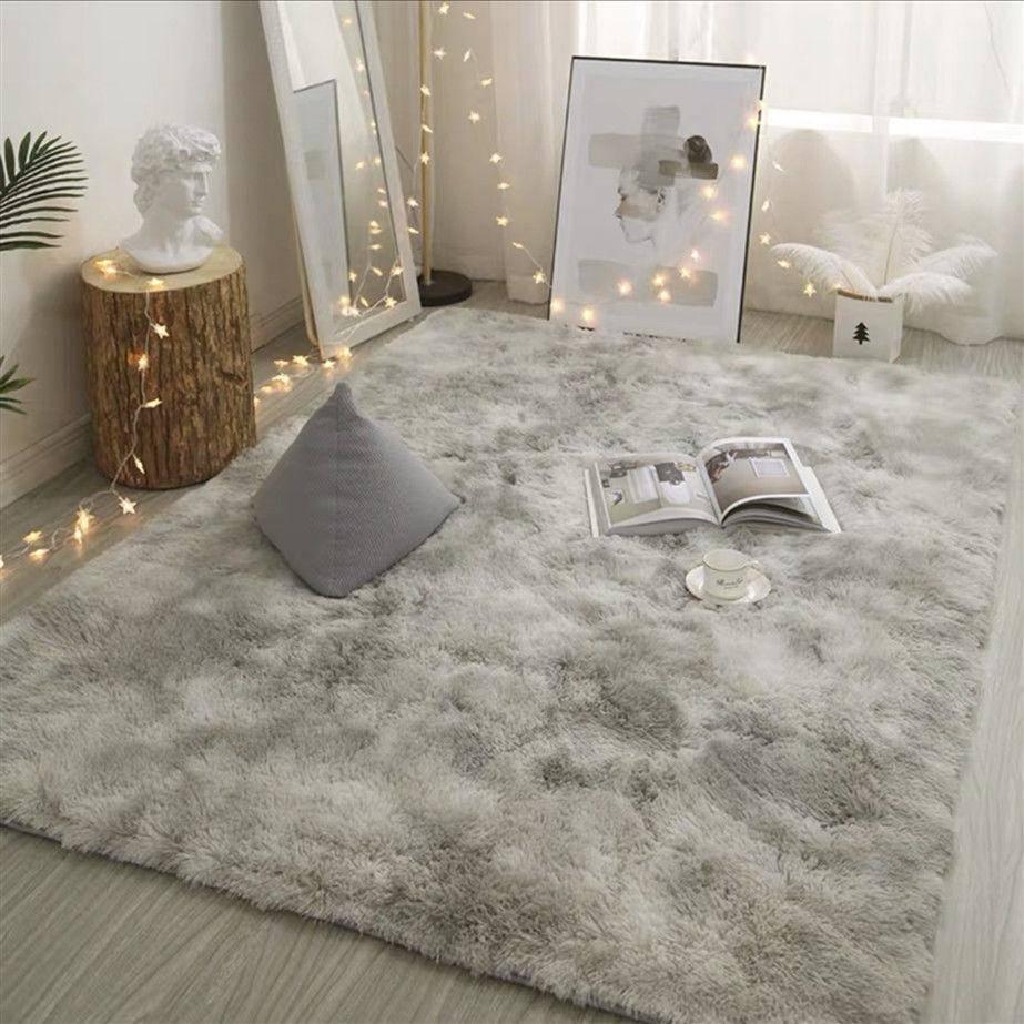 Серый ковер, окрашенные плюшевые мягкие коврики для гостиной, спальни, Нескользящие напольные коврики, коврики для спальни с поглощением во...