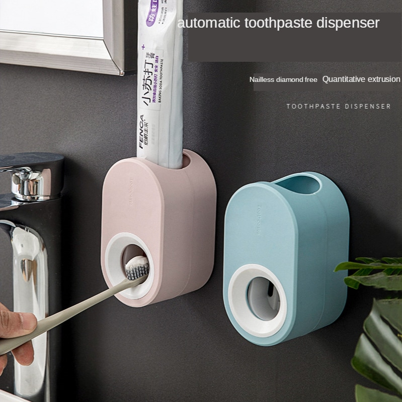 Fully Automatic Toothpaste Dispenser Hole Punched Toothbrush Toothpaste Storage Shelf Wall Hangers Lazy Extrusion For Bathroom