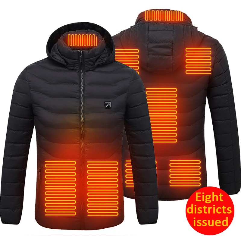 Outdoor Electric Heated Vest Jackets USB Electric Heating Hooded Cotton Coat Camping...