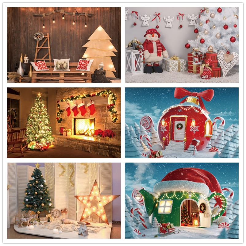 Christmas Photography Background Fireplace Chirstmas Tree  Santa Claus Backdrop For Photo Studio Red Sock Wooden Wall Photocall clock decorations fireplace christmas tree wall photography backgrounds vinyl cloth computer printed christmas photo backdrop
