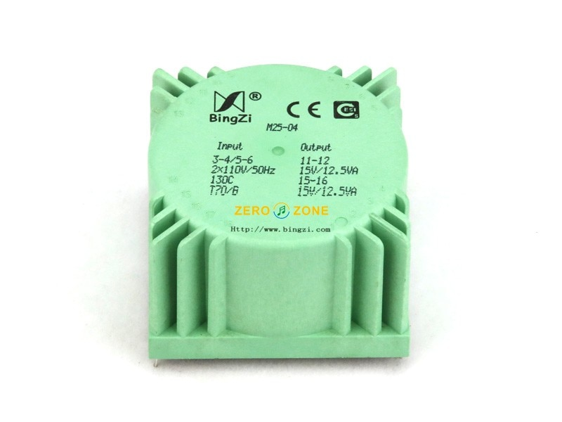 Transformador de potencia HIFI 25VA (25W) bingzi cubo verde sellado de audio