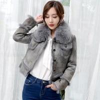 double faced fur coat female fox fur collar natural rabbit fur coats 2020 winter jacket women genuine leather jacket my