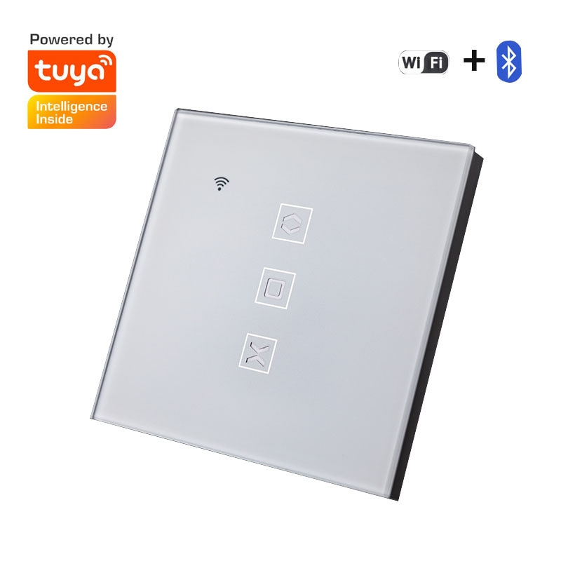 600W Voice Control Electric Curtain Switch Tuya Smart US/EU WiFi+Bluetooth Mobile Phone Remote Touch Curtain Switch Dropshipping makegood luxury galss panel eu type remote control smart electric touch curtain wall switch with led indicator blue backlight