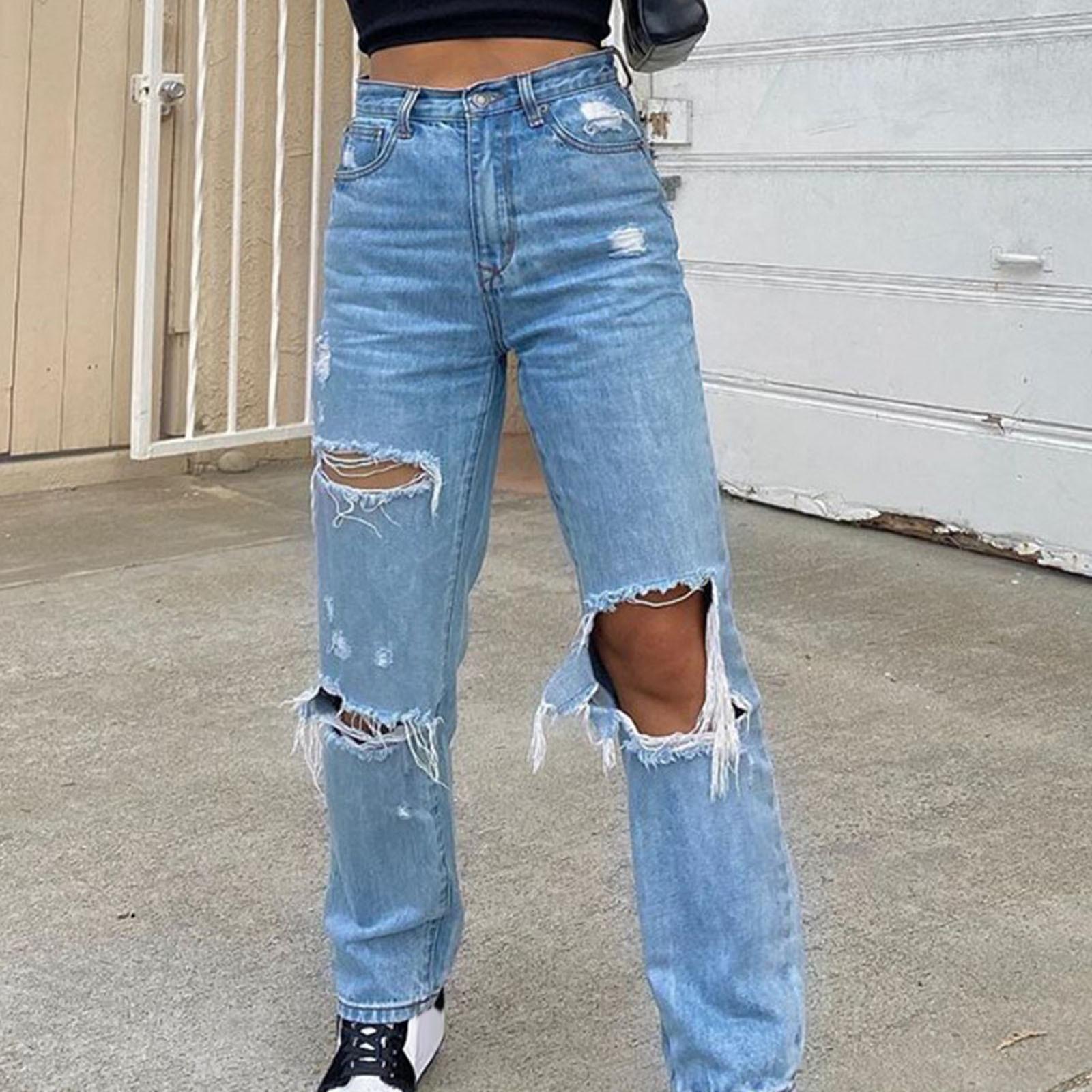 Women Button High Waist Pocket Elastic Hole Jeans Ladies High Waist Ripped Stretch Loose Jeans Trousers Loose Denim Pants недорого
