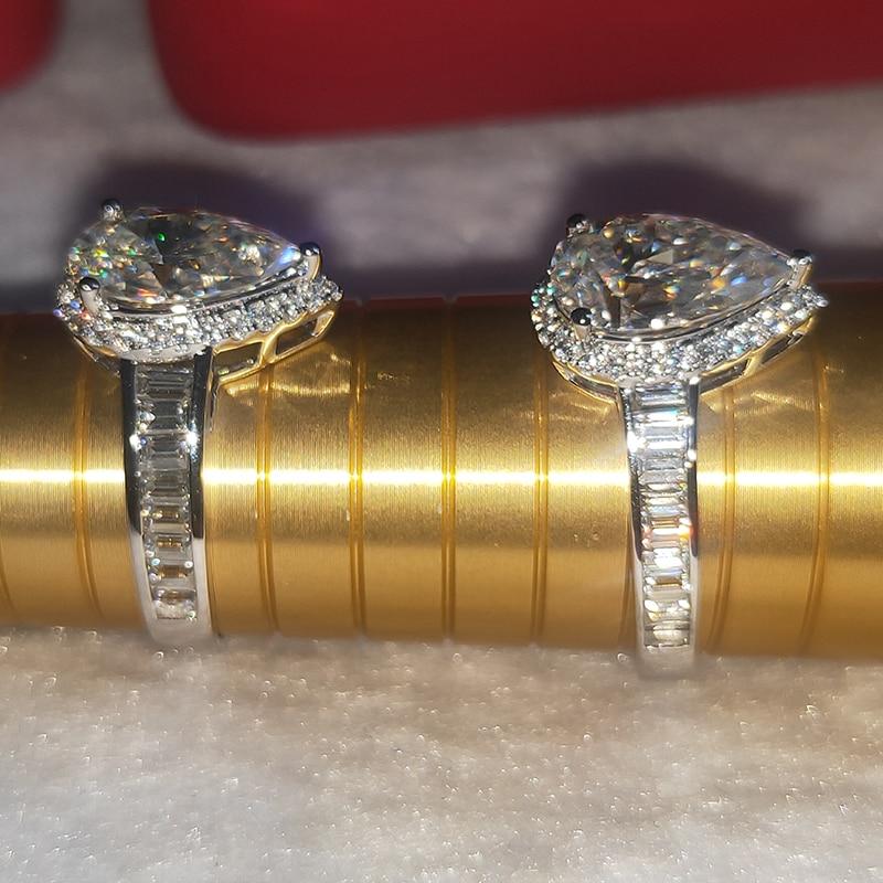 100% 18k gold and moissanite DVVS color 3ct pear shape