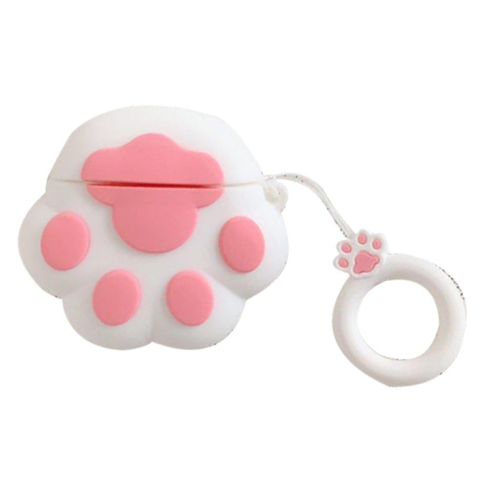 Lindo gato Garra Para Airpods accesorios funda de silicona para auriculares funda de auriculares inalámbrica a prueba de polvo caja de almacenamiento a prueba de caídas + cordón