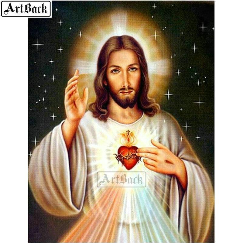 ARTBACK full square Jesús diamond pintura líder cristiano diamante mosaico completo 3d diamante redondo artesanía de punto de cruz