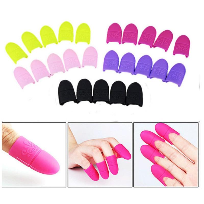 10Pcs Nail Art Soak Off Cap Silicone UV Gel Polish Varnish Remover Clean Degreaser Clip Reusable Wraps Rubber Manicure Tools