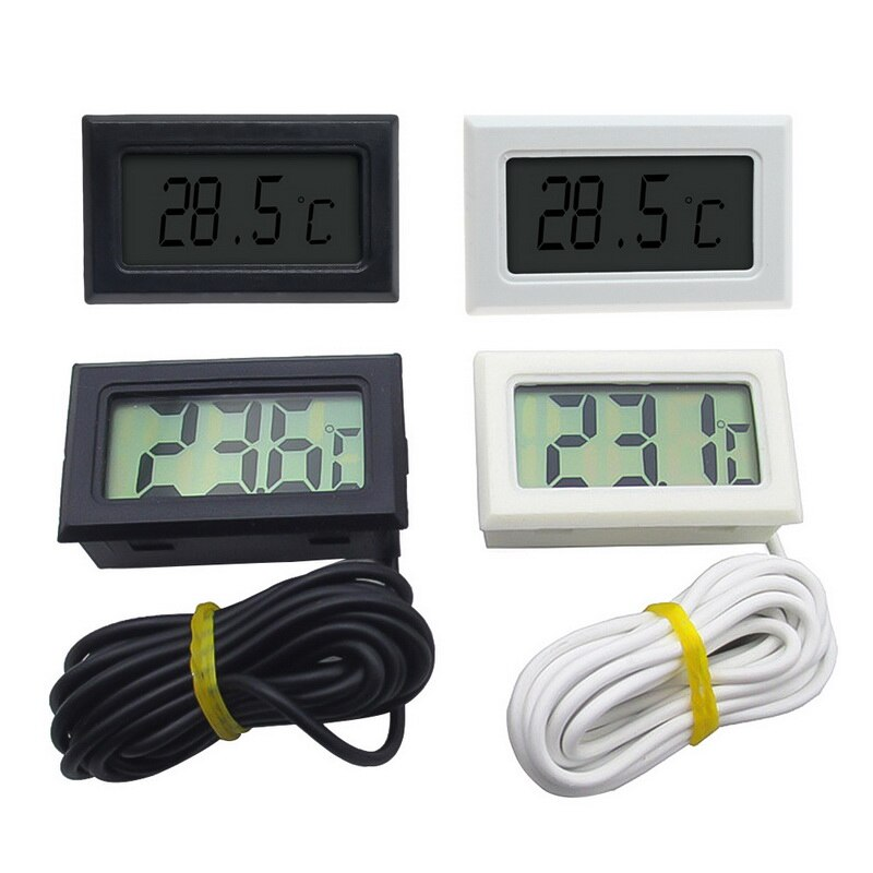 1Pcs 5m Digital Thermometer Mini LCD Display Meter Fridges Freezers Coolers Aquarium Chillers 1/2/3/5m Length Probe Instrument
