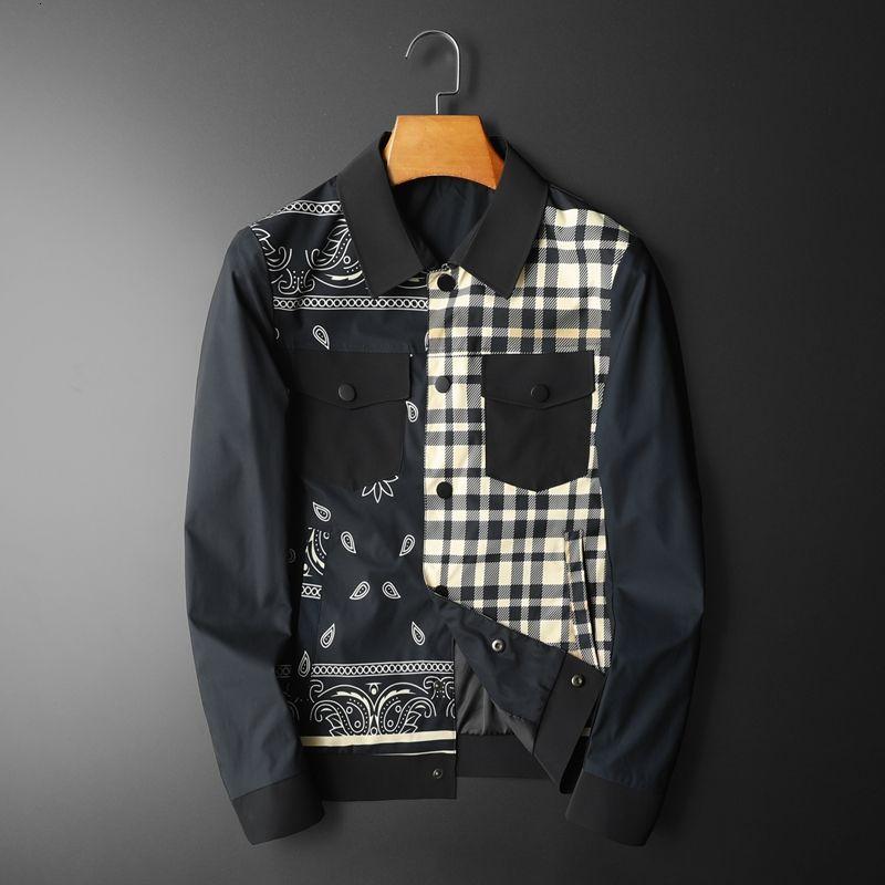 جاكيت بتصميم جديد للربيع 2021 مزود بقطع قماش وقماش شبكي مُزين بقصاصات القماش جاكيت منفوخ عتيق ملابس رجالية يابانية للنادي جيب أمامي للرجال
