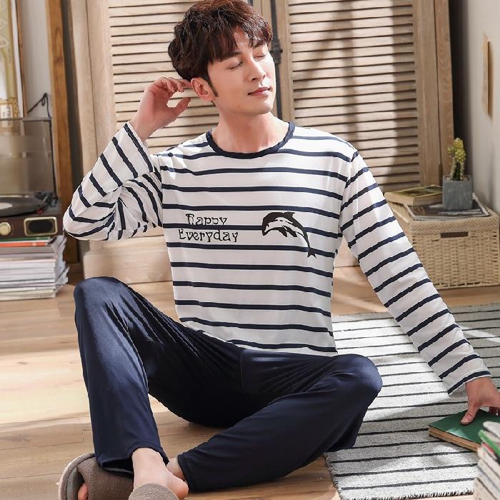 В полоску пижамы мужские длинные рукава пижама комплект для мужчин +сна одежда повседневная ночная рубашка одежда для сна мужские пижамы костюм осень