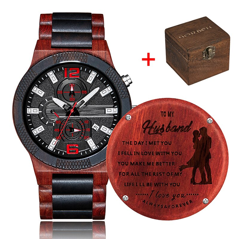 Relógio de madeira gravado marido relógio de madeira à prova ddad água pai filho personalizado caixa de relógio organizador namorado presente dos namorados