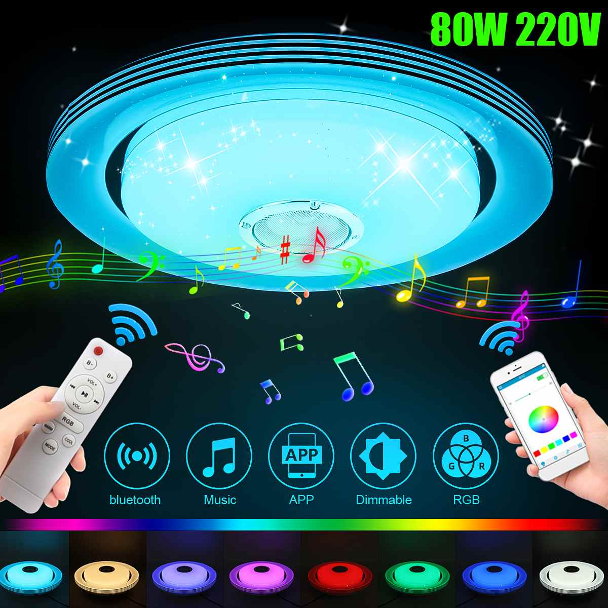 80w música led lâmpada de luz teto rgb montagem embutida música redonda app bluetooth alto-falante inteligente lâmpada do teto com controle remoto 220v